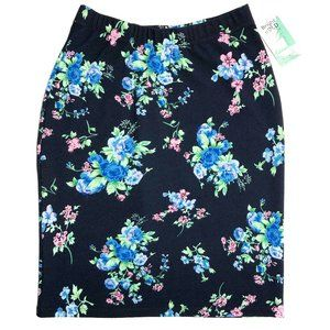 Honey and Lace Fullerton Pencil Skirt Navy Floral